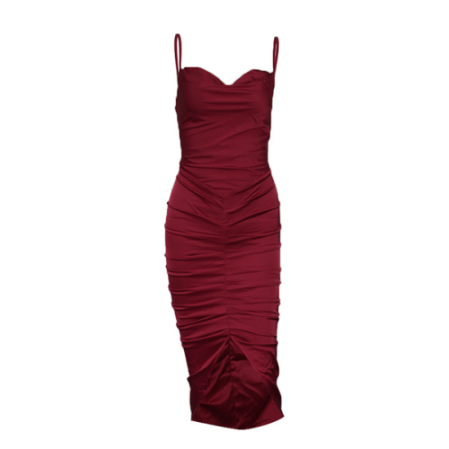 Dresses For Women Sexy Wine Spaghatti Straps Solid Wine Slash neck Pleated Elegant Dress