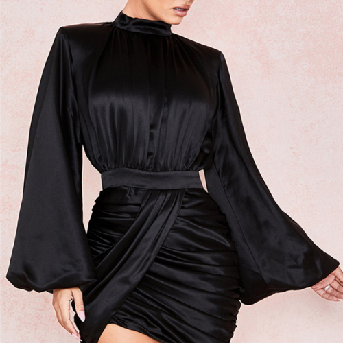 Turtleneck Bodycon Dress Women Autumn Winter Club Party Night Elegant Mini Dress