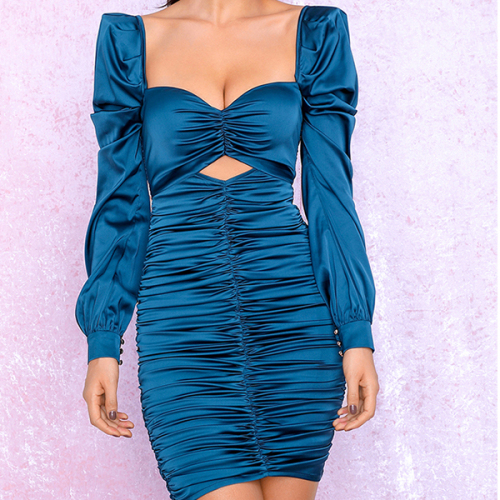 Sexy Blue Cut Out Puff Sleeve Slim Fit Pleated Micro-Elastic Reflective Party Mini Long Sleeve Dress