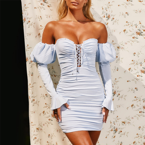 Solid Ruffles Bandage Summer Sexy Party Mini Dress