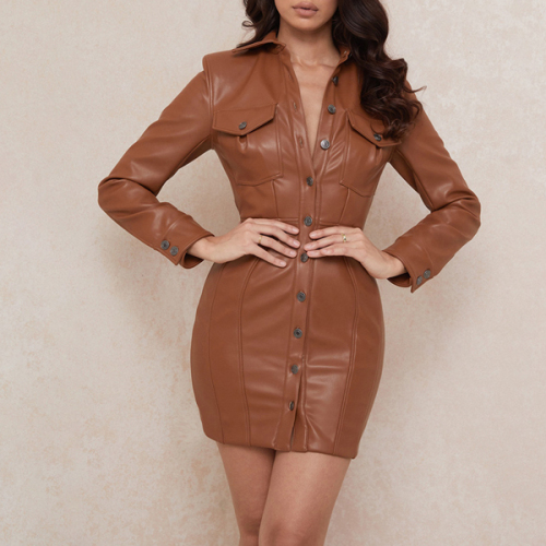Autumn And Winter New Women's Hot Sale Pu Leather Lapel Open Back Sexy Solid Color Slim Dress