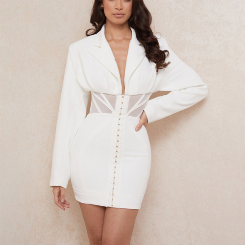 Women solid long sleeve v neck long coat sexy see through coat slim button up white jacket