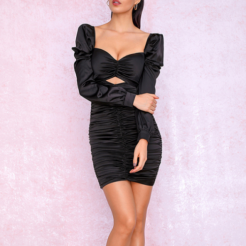Sexy Black Cut Out Puff Sleeve Slim Fit Pleated Micro-Elastic Reflective Party Mini Long Sleeve Dress
