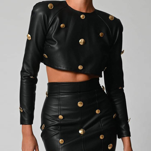 Leather Long Sleeve Crop Top and Skirt with Gold Button Winter Elegant Outfits Fall Women Two Piece Skirt Set