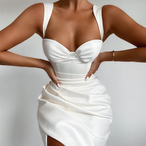 White Pleated Summer Sexy Dress For Women Sleeveless Midi Party Dress