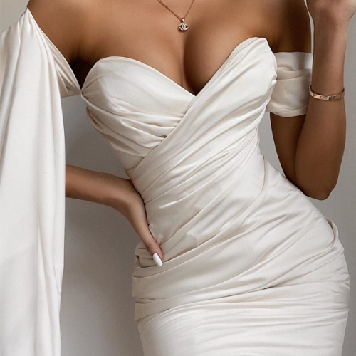 White Satin Dress Sexy Summer Women Off Shoulder Diamond Party Bodycon Mini Dress