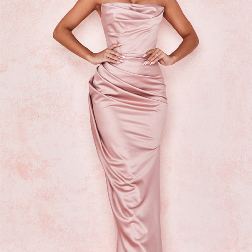 Strapless Side Split Bodycon Maxi Dresses Women Night Club Party Dress Stylish Satin Sexy Dress