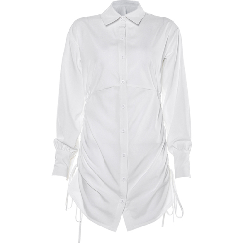 Sexy Short Design Long Puff Sleve Drawstrings at Sides Chic Single Breasted Dress Shirt Style Dress