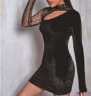 New Slim Nightclub Half High Corduroy Mesh Long Sleeve Hedging Dress