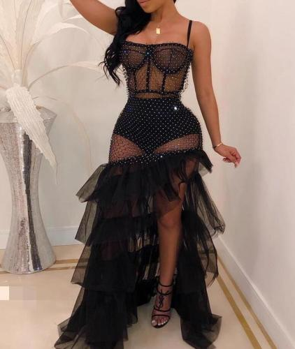 Women Sheer Mesh Patchwork Shiny Ruffles Bandeau Irregular Party Dress