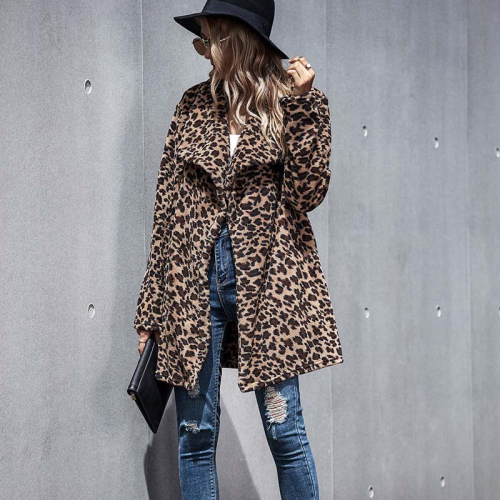 Autumn Winter Leopard Faux Fur Coat Women Long Teddy Jacket Women Plush Teddy Coats