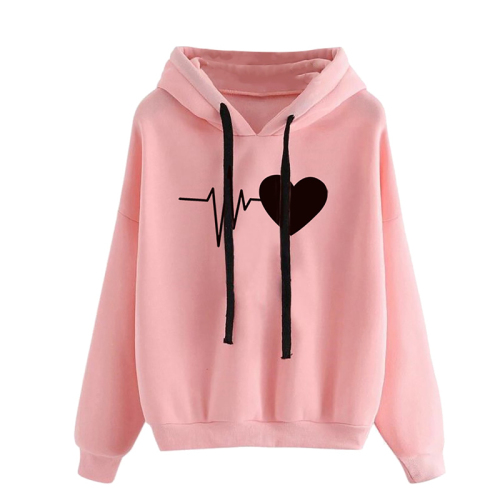 Fashionn Trend Unisex Women Winter Cotton Sweatshirt Hoodie Jumper Warm Heart Pattern Couple Clothes Hooded