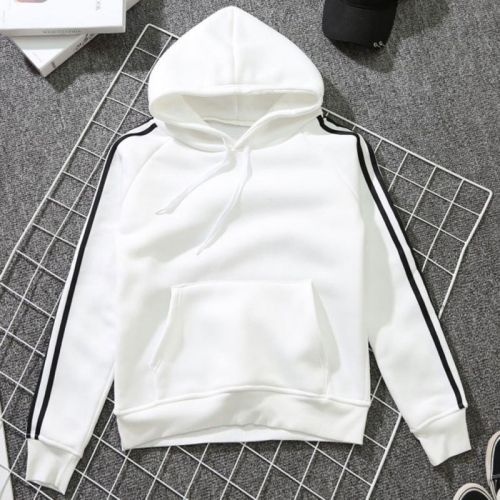 Autumn Hooded Long-sleeved Side Striped Women Fleece Hoody Pullover Loose Casual Sweatshirt Hoodies