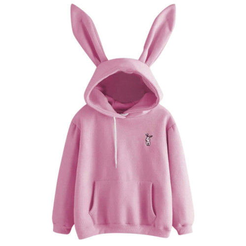 Autumn Winter Women Hoodies Kawaii Rabbit Ears Fashion Hoody Casual Solid Color Warm Sweatshirt Hoodies