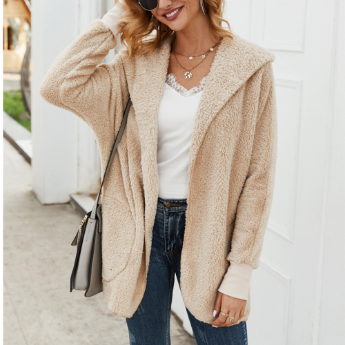 Women Coat Autumn Winter Hoodies Long Sleeve Plush Warm Solid Overcoat Casual Fashion Elegant Outwear Zipper Jacket