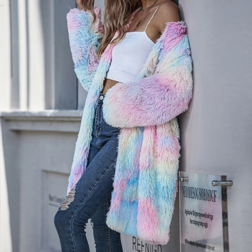 Autumn Winter fashion Women's Sweater Tie-Dye Color Long Long-Sleeved Coats V-Neck fur fluffy jacket Wide-waisted Coat
