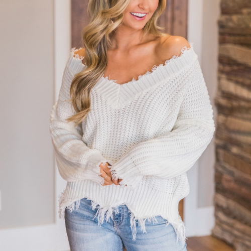 Women Fringe Distressed Knitted Tassel Sweater Female Tops Long Sleeve Pullover Sweaters