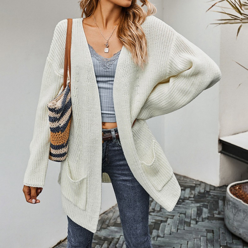 Women Solid Sweater Cardigan Double Pocket Design Female Knitted Cardigan