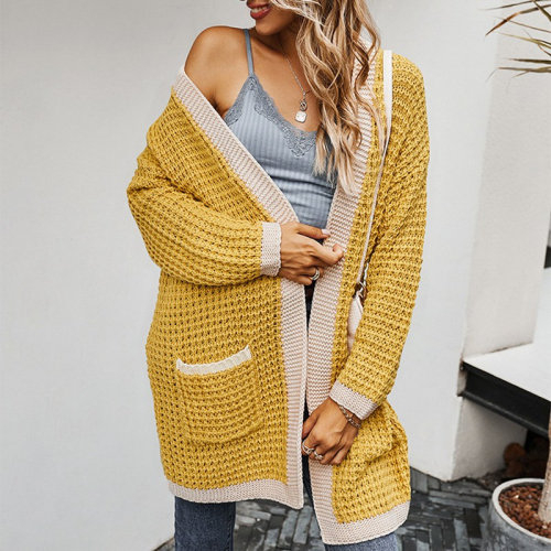 Women Oversized Cardigans V Neck Pocket Casual Patchwork Loose Jumpers Thick Warm Autumn Spring Knit Cardigan