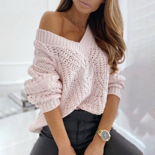 Women V-neck Sweater Long Sleeve Knit Sweater Women 2020 Female Solid Soft Knitted Jumper Sexy Autumn Sweater