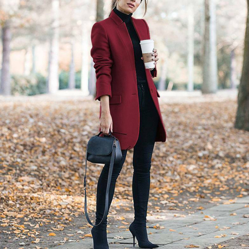 Women Trench Long Coat 2020 Winter Spring Lapel Long Sleeve Coats Office Ladies Solid Slim Overcoat