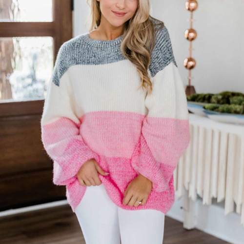 Striped Loose Ladies Sweater Pullover 2020 Autumn Winter Long Sleeve Jumpers Knit Sweaters