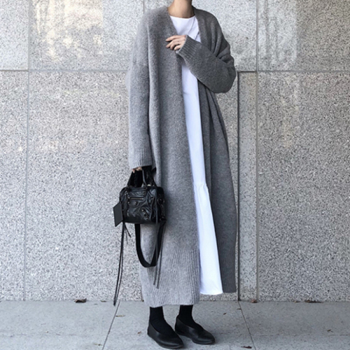 Autumn Winter Long Sweater Cardigan Women Thick Knitted Long Sleeve Jumper Woman Casual Open Stitch Loose Coat