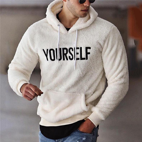Autumn Winter Men Warm Plush Fleece Hoodie Sweatshirts Casual Long Sleeve Letter Print Hooded