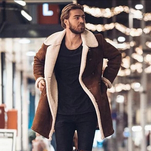 020 New Men's Winter Wool Fleece Long Overcoat Outerwear Warm Suede Coat Male Men Brown Long Trench jacket