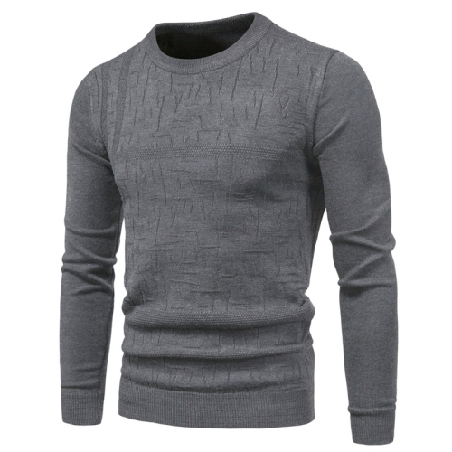 2020 autumn new cotton men's knit sweater pullover round neck bottoming men's round neck sweater