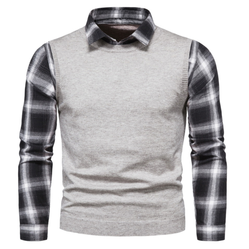 Men's False Two-piece Autumn Sweater Shirt Check Lapel Thick Warm Long Sleeve Male Stretchy Pullover