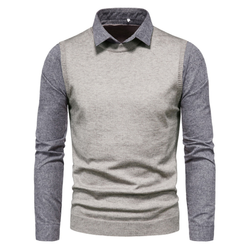 Fake Two Pieces Sweater Men Brand New Shirt Collar Mens Knitted Pullovers Casual Slim Fit Knitwear
