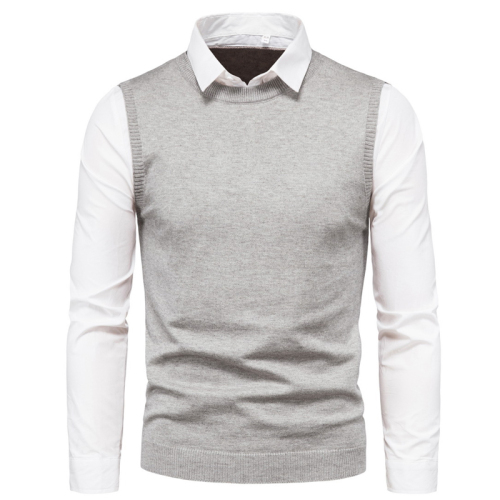 Men's Sweater White Lapel Shirt Vest Fake Two Pieces Sweaters