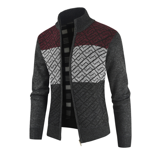 2020 New Autumn Winter Thick Stand Collar Mens Cardigan Jackets Casual Zipper Patchwork Sweater Men Casual Fashion Jacket