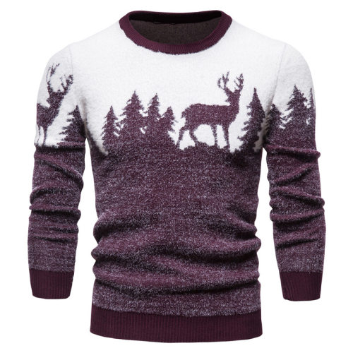 New Winter Christmas Sweater Christmas Tree Deer Print Mens Sweaters