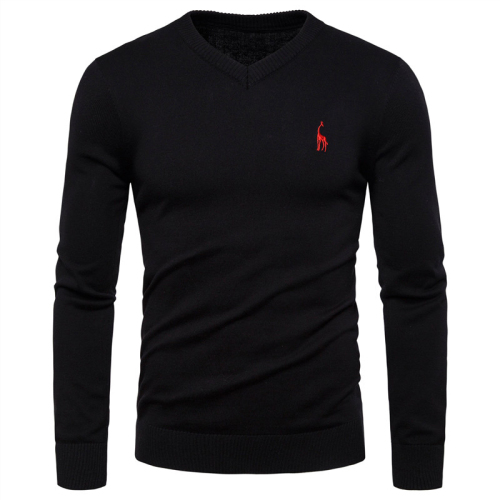 Autumn Winter Brand  Cotton Mens Sweaters V Neck Pullovers Men Solid Embroidery Sweater