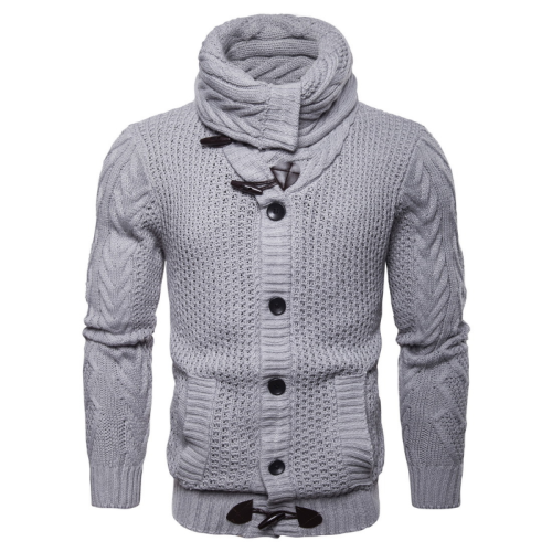 2020 Winter High Collar Men Cardigan Casual Solid Color Single Breasted Slim Sweater