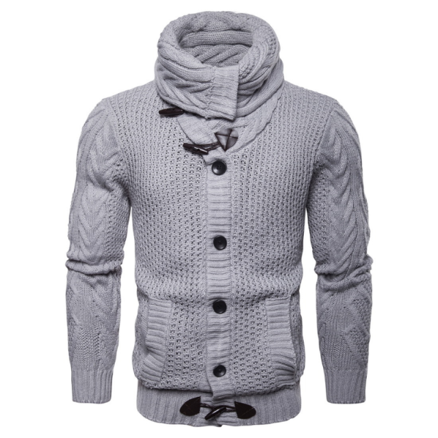 2020 Winter Turtleneck Men Cardigan Casual Solid Color Single Breasted Slim Sweater