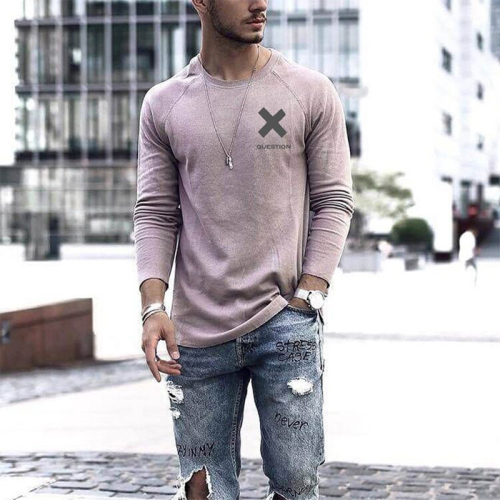 2021 Spring Autumn Men's Sweatshirt Fashion Casual Long Sleeve V-Neck Tops Male Pullovers