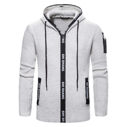 White Men Solid Slim Fit Zipper Hoody Fashion Thick Coats