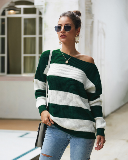 Long Sleeve Woman Striped Sweaters 2020 Fashion Autumn Sexy O-neck Sweaters