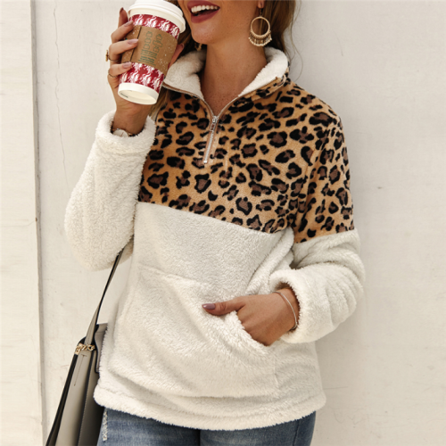 Winter Fleece Sweater Fashion Leopard Patchwork Fluffy Thick Sweaters Warm Zipper Pullovers