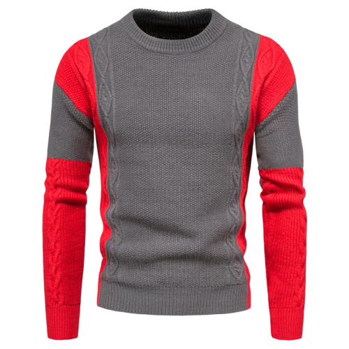 2020 New Color Matching Pullovers Mens Sweater Casual O-neck Letter Sweater Men Autumn Fashion Slim Fit Men's Sweater