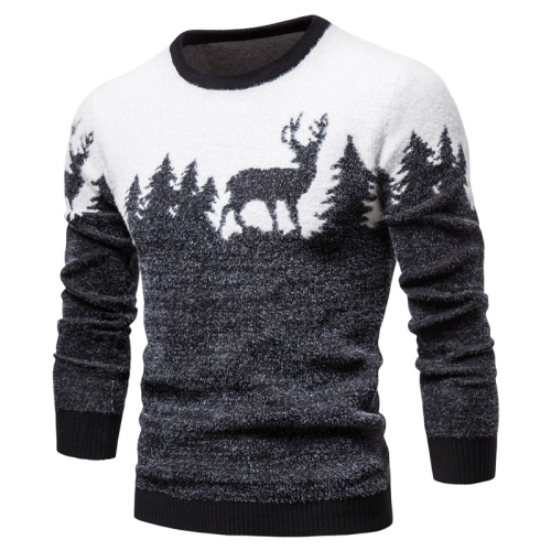2020 New Winter Christmas Sweater Christmas Tree Deer Print Mens Sweaters