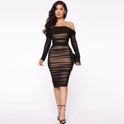 New Off Shoulder Ruched Dress Sexy Long Sleeve Bodycon Mesh Midi Dress