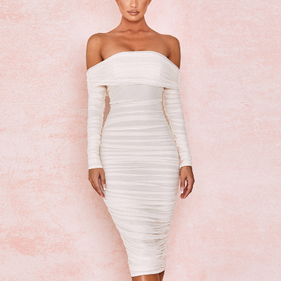 New White Mesh Wedding Party Dress Elegant Off Shoulder Long Sleeve Ruched Midi Dress