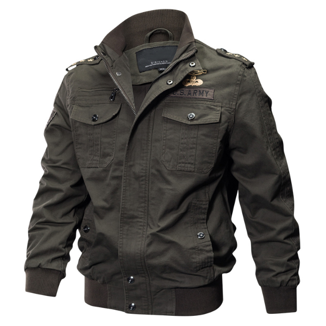 Gender: MEN Item Type: Outerwear & Coats Outerwear Type: Jackets Material: Cotton Clothing Length: Regular Style: Military Collar: STAND Pattern Type: Solid Cuff Style: Rib sleeve Closure Type: zipper Lining Material: Polyester