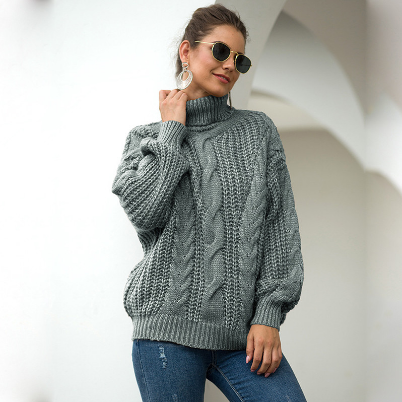 Solid Turtleneck Knitted Sweater Women Loose Elasticity Long Sleeve Sweater