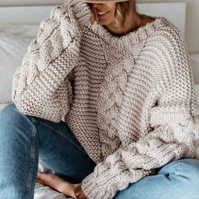 Autumn Twist Sweaters Women Winter Warm Long Sleeve Solid Knitted Sweater Casual V Neck Loose Oversized Ladies Pullovers