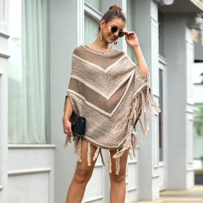 Oversize Women Poncho Style Coat Long Sweater Pullovers Aesthetic Winter Ladies Jumper Sexy Tassel
